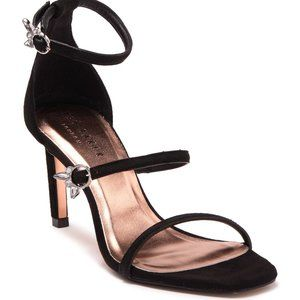 Ted Baker NEW black suede heels ankle 3 straps